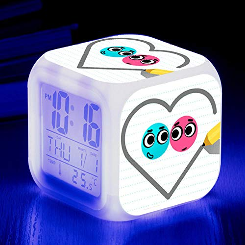 Reloj despertador para niños Reloj despertador digital de cabecera Reloj despertador con puerto de carga USB LED Luz de noche colorida Reloj despertador pequeño iluminado Silencio C1971