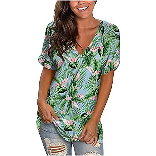 Mujeres Y2k Tops manga corta camiseta impresión túnica suelta y blusas básicas casual Tops V cuello verano Streetwear