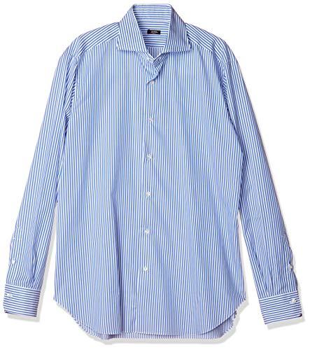 [バルバ] ドレスシャツ ワイドカラーシャツ メンズ ブルーストライプ EU 40 (日本サイズM相当)