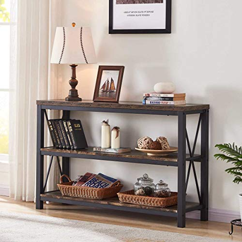 BON AUGURE Industrial Sofa Console Table, 3 Tier Horizontal Entry Tables with Open Shelf, Rustic Entryway/Hallway Table for Living Room (47 Inch, Rustic Oak)