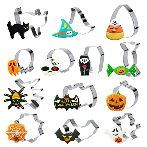 GWHOLE 10 Pcs Halloween Cookie Cutter Set Bat Shape Fondant Icing Mold for Kids Holiday Party