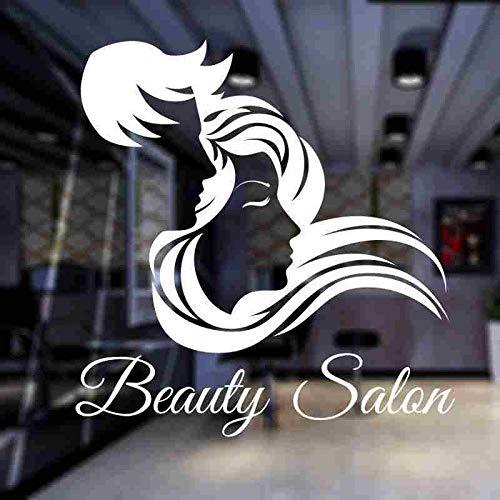 Ofomox Peluquería calcomanías de Pared Pegatinas de salón de Belleza peluquería Tijeras calcomanías de Vinilo para Ventanas Pegatinas Decorativas de Pared Pegatinas de Vidrio para peluquería 56X58CM