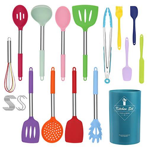 CORAFEI 14 PCS Ustensiles de Cuisine en Silicone, Set de Ustensiles à pâtisserie Anti-Rayures - Pot de Rangement - 10 Crochets