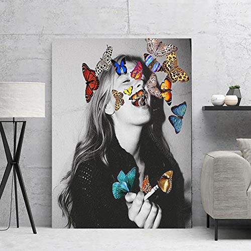 Ayjxtz Jigsaw puzzle 1000 piece Color butterfly smoking women jigsaw puzzle 1000 piece adult Great Holiday Leisure,Family Interactive Games50x75cm(20x30inch)