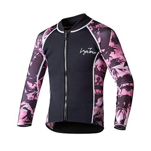 LayaTone Tauchanzug Jacke 3mm Neoprenjacke Wassersport Neoprenanzug Herren Damen Wetsuit Top Rash Guard Surfanzug Saunaanzug (Nylonärmel + Body vor und nach Neopren)