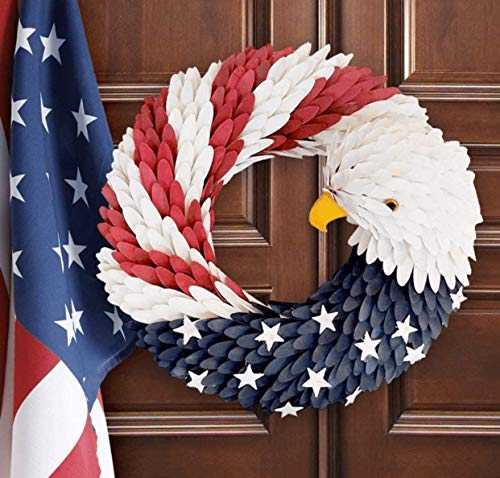 American Eagle Wreath - Patriotic Flag Garland, Handcrafted Plastic Hanging Bald Wreaths Decor for Home Wall Door, USA Memorial-Labor Day Round