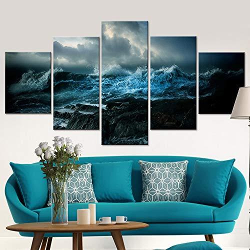 FGVBWE4R Wandkunst Wohnzimmer Gedruckte Bilder 5 Panel Die Wellen Surge Landschaft Moderne HD Rahmen Wohnkultur Leinwand Malerei Poster-XXL