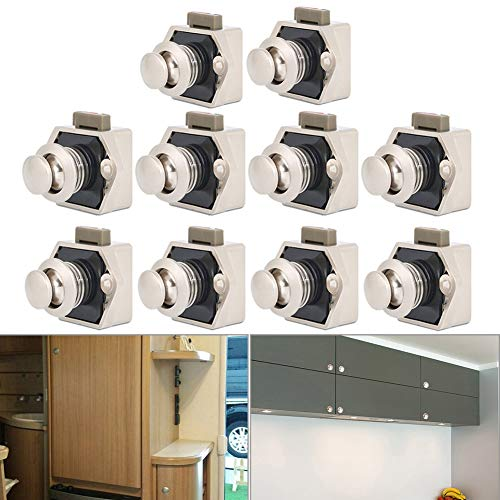 10 Stück Push Button Catch Door Lock Verriegelung,Metall Push Button Drehknopf Schloß für Wohnmobil Caravan Van Yacht Drawer Cabinet Door (Perlnickel)