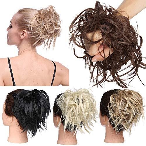 TESS Haarteil Dutt Haargummi mit Haaren Glatt struppige Haarknoten Hochsteckfrisuren günstig Haarverlängerung für Frauen 45g Mittelbraun