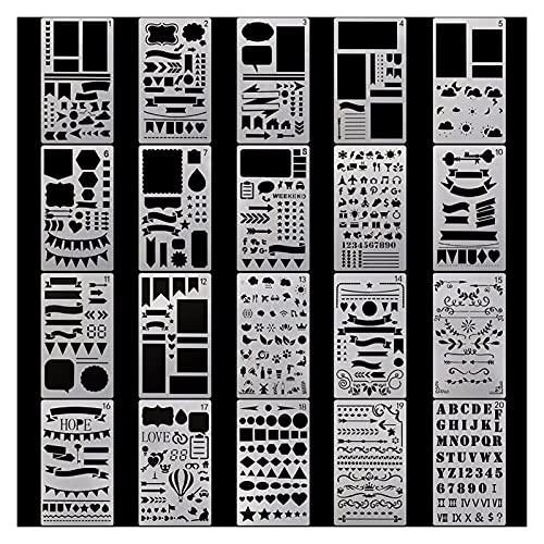 Plantillas de Dibujo,NúMero De Letra y Plantilla D 20 unids/Set Stencil Plantillas de plástico Diario/Notebook/Diario/Scrapbook Hollow DIY School Schoolery Suministros de Oficina