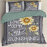 Waynekeysl Love Signs Duvet Cover Set, You are My Sunshine Quote on a Black Board with Bees and Sunflowers, Decorative 3 Piece Bedding Set with 2 Pillow Shams, Full Size, Gray Yellow