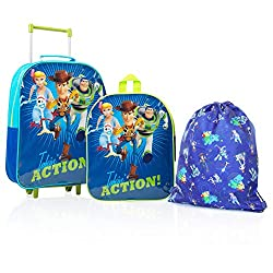 TOYS STORY 4 KIDS HAND LUGGAGE SET --- school, sports activities or travel, this set has it all! With a super practical trolley bag you can use for travel or school, a fun backpack featuring Forky, Woody, Buzz and Bo Peep and a drawstring bag, you're...