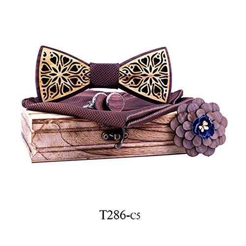 DYDONGWL Krawatten Herren,Holz Fliege,Blumengeschenkset Holzfliegen für Herren Bowtie Schmetterlinge Hochzeitsanzug aus Holz Bowtie Hemd Krawatte Bowknots Krawatte