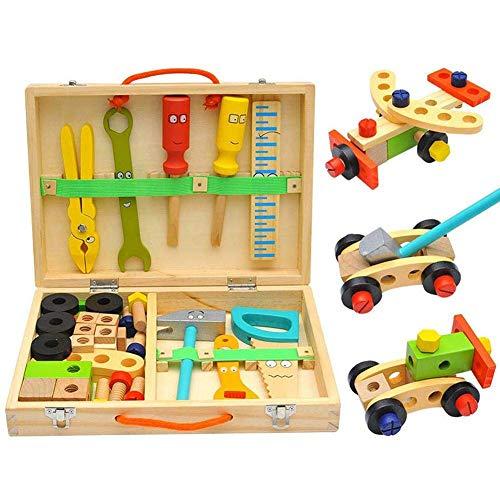 LIUCHANG Holz Toolbox Spielzeug, Kinderspielzeug Emulational Repair Tool Kit, Frühaufbildungsspielzeug Schraubnüsse Hölzerner Junge Spielzeug liuchang20