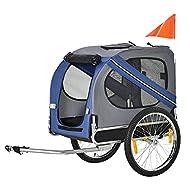 PawHut Folding Dog Bike Trailer Pet Cart Carrier for Bicycle Travel in Steel Frame - Blue & Grey