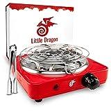 Little Dragon Shisha Kohleanzünder [Version 2.0] Verbesserter Kohlenanzünder für Shisha - Inkl. Kohlegitter + Zange - Extrem Langlebig Dank V2A Spirale - Kohlegrill Shisha Zubehör - 8 Min. Turbo