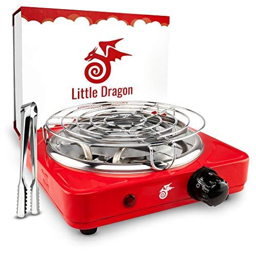 Little Dragon® Shisha Kohleanzünder [Version 2.0] Verbesserter Kohlenanzünder für Shisha - Inkl. Kohlegitter + Zange - Extrem Langlebig Dank V2A Spirale - Kohlegrill Shisha Zubehör - 8 Min. Turbo