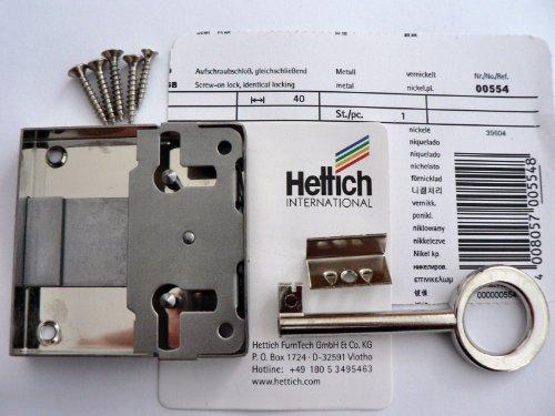Hettich Aufschraubschloß rechts / links und für Schublade verwendbar Dornmaß: 40mm
