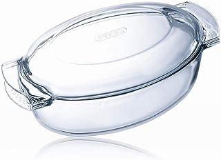 Pyrex 460A000/5043 - Cacerola ovalada de cristal con tapa, 5.8 L