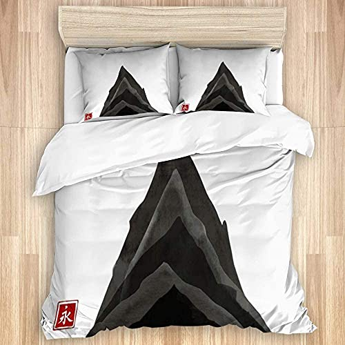 NELTICZ Romance Duvet Cover Matching Shams, 3-Piece Set, Sketch Black Travel Ink Drawing Nature Wash Rock High Old Painting Classic Mounta Design Bedroom Comforter Set King Size for Boys Girls Teens