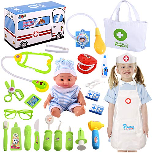 Joyjoz Kids Doctor Kit with Electronic Stethoscope, Pretend Play Medical Kit Set for Girls Kids Toddler Doctor Costume, School Classroom and Costume Dress-Up
