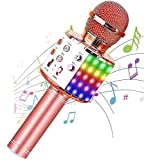DABUTY ONLINE, S.L. Bluetooth Altavoz micrófono inalámbrico, micrófono de Mano Karaoke Reproductor de música Canto del micrófono Grabador de KTV micrófono (Oro Rosa)