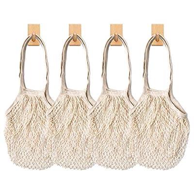 Reusable Produce Cotton Mesh Bag - SURDOCA Natural Cotton Net String Shopping Tote Bag,4PCS