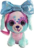 Little Bow Pets Stuffed Animals - Soft Fluffy Plush Pink and Blue Puppy Dog Frosty Bow Pet with Blue Sparkle Surprise Bow - 2 Surprise Toys Inside Bow
