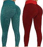 MILONT 2 pantalones de yoga de cintura alta para mujer, control de barriga, entrenamiento, fitness, correr, deportes, elásticos