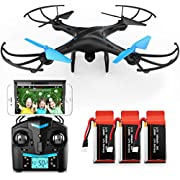 Force1 U45W Blue Jay Drones with Camera for Adults and Kids - WiFi FPV Drone Quadcopter with 720p HD Camera and 3 Batteries