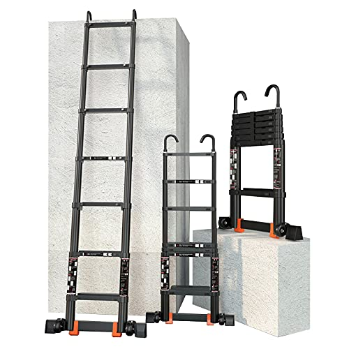 Teleskopleiter Leiter Treppenleiter Teleskopleiter für 6m / 5m / 4m / 3m / 2m Wohnmobil/Dachzelt/Dachboden, Schwarz Aluminium Verlängerungsteleskopleitern mit abnehmbarem Haken & Stabilisator