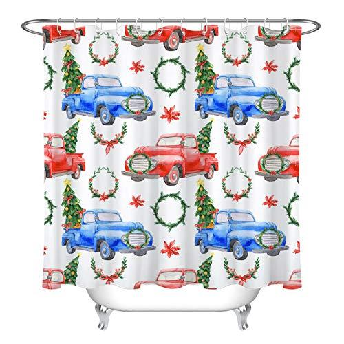 Weihnachtsbaum Girlande rot Pickup Dekorativer Duschvorhang kann gewaschen & getrocknet Werden,10Haken,120X180cm,geeignet für Badezimmer