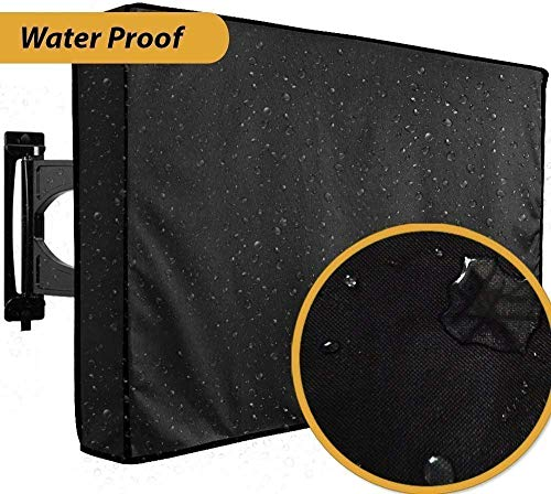 "Outdoor TV Cover 52"" - 55"" - WITH BOTTOM COVER - The BEST Black Quality Weatherproof and Dust-proof Material with Microfiber Cloth. Protect Your TV Now"