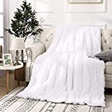 Beglad Super Soft Shaggy Throw Blankets, Cozy Long Plush Fuzzy Faux Fur Bed Throw, Fluffy Luxury Sherpa Fleece Blanket for Bedroom Living Room, 50x60 inch, White