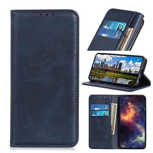 TOPOFU Handyhülle für LG K41S/K51S Hülle,Premium PU/TPU Lederhülle Klapphülle mit Magnetisch,Kartenschlitz,Rindsleder Textur Handytasche Schutzhülle Flip Cover Hülle-Blau