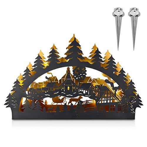 Navaris LED Outdoor Metall Schwibbogen - 33x55cm - 3D Lichterbogen mit 2x Erdspieß - Weihnachtsbogen Lichtbogen auch für innen geeignet - Dunkelgrau
