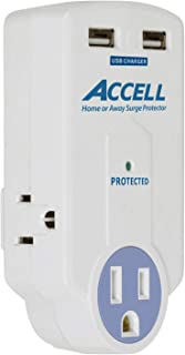 Accell Power Travel Surge Protector - 3 Outlets, 2 USB Charging Ports (2.1A Output), Folding Plug - White, 612 Joules, ETL Listed