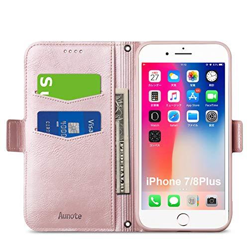 iphone8plus ケース 手帳型 iphone7plus ケース スマホケース 二枚カード収納 サイドマグネット ワイヤレス充電対応 スタンド機能 ストラップホール(iphone8プラス ケース ローズゴールド)