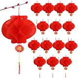 30 Farolillos Chinos de Papel 15cm Faroles Rojos Linternas Colgantes para Decoración de Festival de Primavera Año Nuevo Chino Boda Fiesta