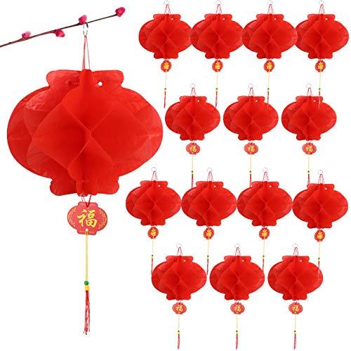 BHGT 15cm x 20 Stück Chinesische Laternen Lampions Rot Hängende Laternen Rot Faltbare wasserdichte Rote Papierlaternen Papierlampen für Chinesisches Neujahrsfest Frühlingsfest Party Feier Dekoration