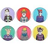 La Chaise Longue 35-2E-100 Assiettes à entrée ou dessert Happy animals Multicolores Set de 6 animaux assortis Mélamine Multicolore D20cm