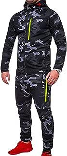 Zantt Men Camo Print Jackets Two Pieces Jogger Pants Sweatsuit Outfit Set