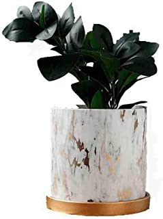 Y&M(TM) Marble Plants Pot Indoor, 6.3 Inch Plants and Planters Pots Modern Nordic Style Ceramic Marble Look Scrub Flower Pots with Ceramic Tray for Succulent Cactus Home Office Decoration
