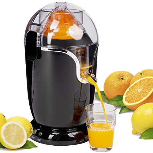 Onvaya® Exprimidor eléctrico de frutas, de naranjas y limones, de cítricos, totalmente automático, en negro