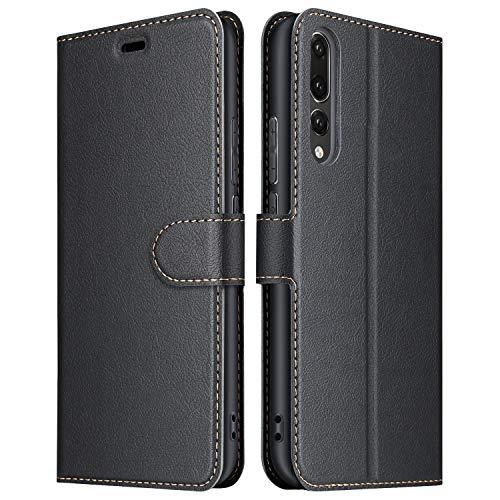 ELESNOW Hülle für Huawei P20 Pro, Premium Leder Klappbar Wallet Schutzhülle Tasche Handyhülle mit [ Magnetisch, Kartenfach, Standfunktion ] für Huawei P20 Pro (Schwarz)