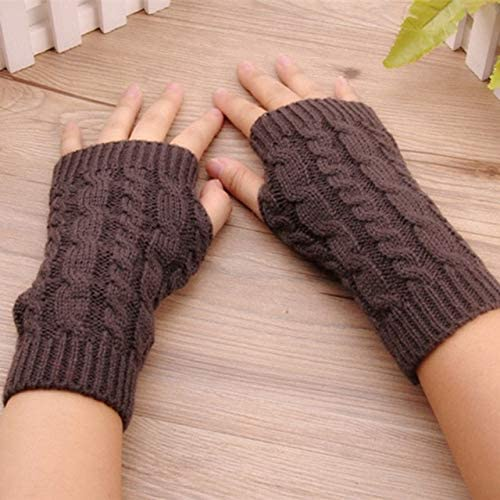 Winter Wrist Female Gloves Knitted Lady Fingerless Mittens Women Warmer Gloves 5 Colors - (Color: C)