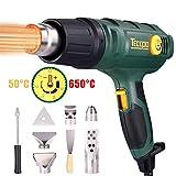 Pistola de aire caliente TECCPO 2000W, 50-650 ℃ alta potencia, 8 accesorios de boquilla,...