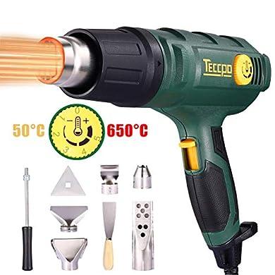 Foto di Pistola ad Aria Calda, TECCPO Pistola Termica Elettrica Professionale Avanzata 2000W, 3 Temperatura Regolabile (50℃/480℃/600℃), Volume Super Aria 500L/MIN, con 5 pratici Accessori - TAHG07P