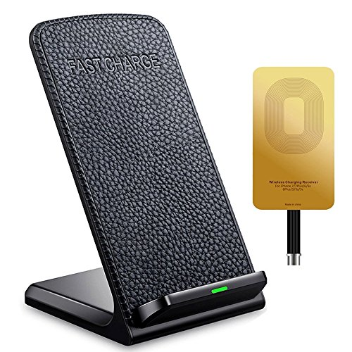 Fast Wireless Charger,ivolks Leather Cordless CellPhone Rapid Charger,Portable QI Charging Stand Pad for Apple iPhone X,iPhone 8 plus, 8,iPhone 7 plus, 7,  iPhone 6s plus, 6s, iPhone 6 plus, 6 etc