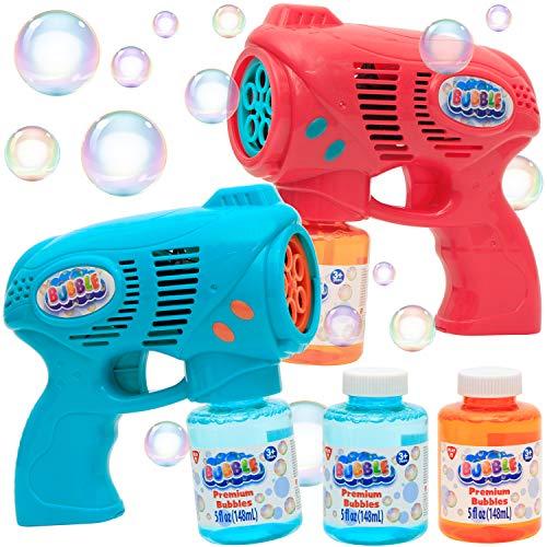 JOYIN 2 Bubble Guns with 2 Bottles Bubble Refill Solution for Kids,...